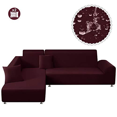 TAOCOCO Sofa Überwürfe Sofabezug Elastische Stretch Wasserdicht Sofa Abdeckung für L-Form 2er Set mit 2 Stücke Kissenbezug (3 Sitzer+3 Sitzer, Weinrot)