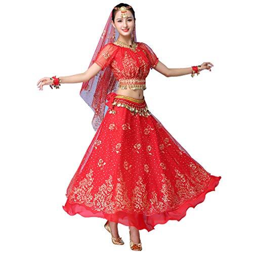 Magogo Erwachsene Mädchen Bollywood Indian Dress 3-teiliges Set Lady Arabian Princess Bauchtanz Rock Karneval Kostüm Phantasie Outfits (Rot)