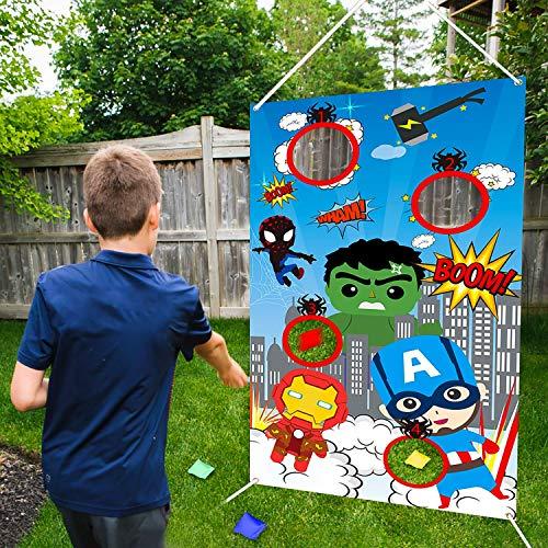 BeYumi Superhelden Werfen Spiele mit 4 Bohnentaschen, Superheld Indoor Outdoor Werfen Spiel Party Zubehör für Kinder, Karneval Spiele Werfen Spiele Banner
