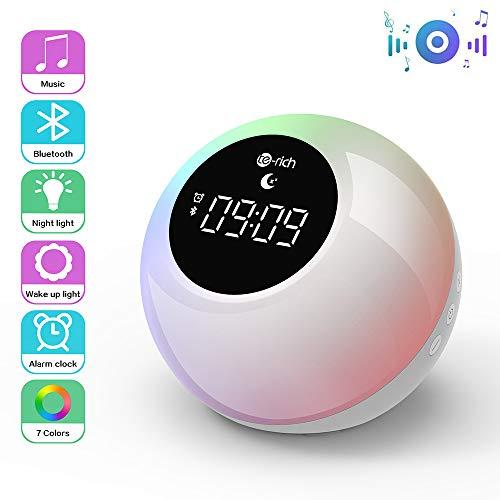 Lichtwecker mit Bluetooth Lautsprecher, Wake up Light Aufladbar Wecker, 7 Naturtönen, Touch Control, Schlafshilfe Musik, Nachtlicht mit 3 Helligkeitsstufen, RGB Stimmungslicht für Schlafzimmer