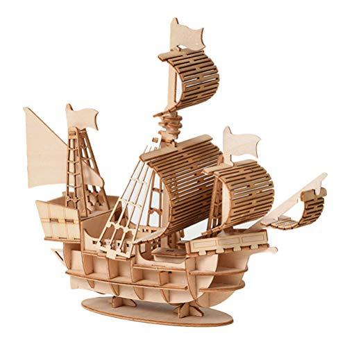 Holzschiff Modelle DIY Holzpuzzle Bausatz 3D Puzzle Holzbausatz Schiffsmodell Segelschiff Flaggschiff Holzmodell für Kinder Jugendliche und Erwachsene