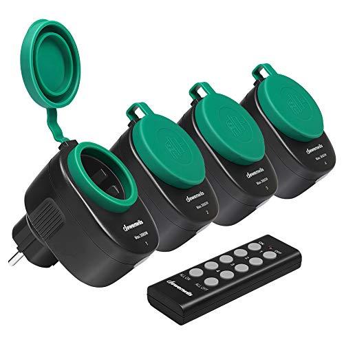 DEWENWILS Funksteckdosenset Aussen, Programmierbare Steckdosen mit Fernbedienung, IP44, 4er Funksteckdosen und 1 Fernbedienung für Weihnachtsdeko, 3680W, 30 M Reichweite, CE und TÜV zertifiziert