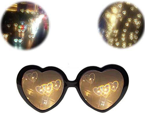 SJLHP 3D-Brille Herzen Feuerwerk Beugungsbrille Spezialeffekt Licht für Musik im Freien Party/Bar/Feuerwerk,Schwarz