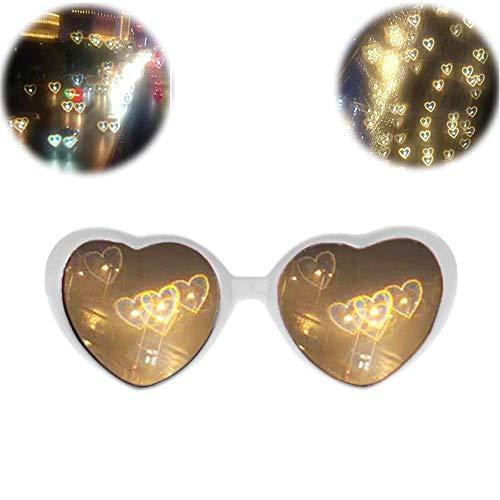 SJLHP 3D-Brille Herzen Feuerwerk Beugungsbrille Spezialeffekt Licht für Musik im Freien Party/Bar/Feuerwerk,Weiß