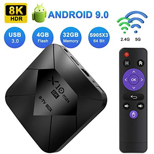 XGODY Android TV Box,4GB+32GB X10 MAX Android 9.0 Smart Media Box mit S905X3 Quad-Core Cortex-A55,8K HDR/ HDMI 2.1/ H.265/ USB3.0,Bluetooth WiFi 2.4G/5G Streaming Box