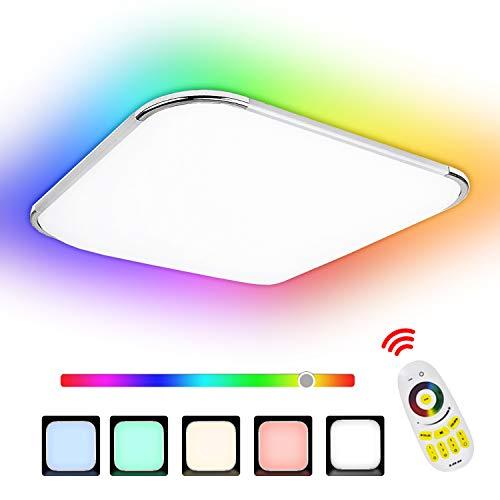 Hengda 24W RGB LED Deckenleuchte, Deckenlampe 6500K Dimmbar, Schutzart IP44, Kinderzimmerlampe, Schlafzimmerv Flimmerfrei und Blendfrei, Wohnzimmerlampe inkl. Fernbedienung