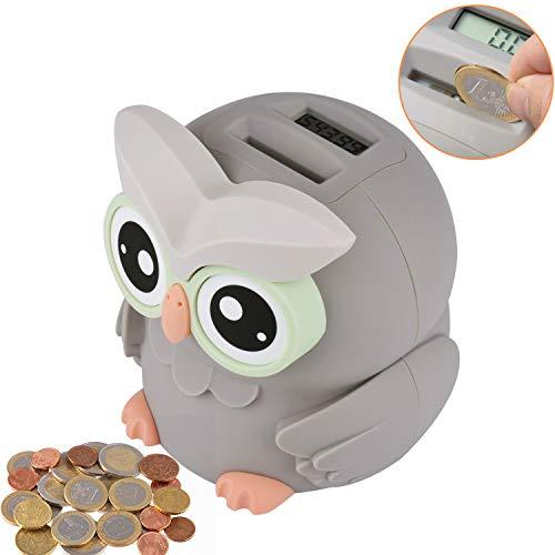 LarmTek Sparschwein,Eulen Sparschwein Groß mit Automatischer Zählung,Spardose mit Zähler für Jungen, Mädchen und Erwachsene als Geschenk für Alle Festivals, Money Jar mit LCD-Display.