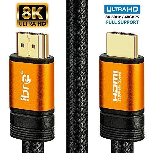 IBRA 2.1 Orange HDMI-Kabel 8K Ultra-High-Speed-48-Gbit/s-Kabel | Unterstützt 8K@60HZ,4K@120HZ,4320p, kompatibel mit Fire TV, 3D-Unterstützung, Ethernet-Funktion, 8K UHD, 3D-Xbox PS3 PS4 PC - 3M