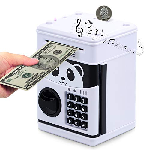WILDHD Elektronische Spardose für Kinder - Digitale Spardose mit Passwort und UV-Licht - Große elektrische Sparbüchse für Münzen und Scheine - Toller Mini-ATM- Automatische Sparautomat