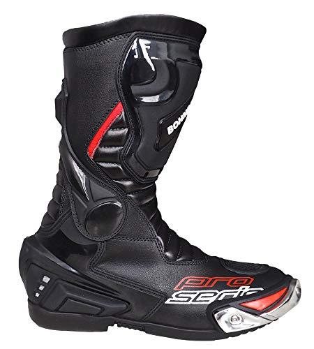Herren Motorradstiefel Racing Sportstiefel, Wasserabweisend aus schwarzem Leder mit aufgesetzten Hartschalenprotektoren,Schwarz-Gr.43