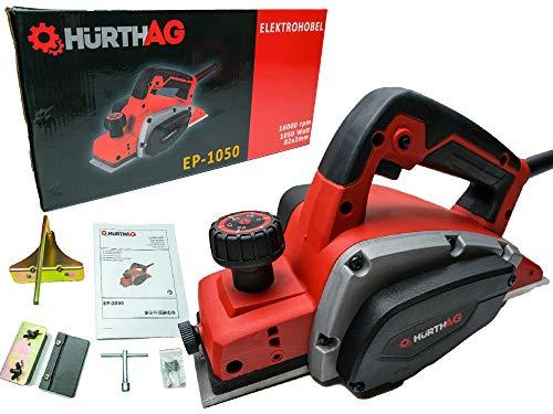 HurthAG Elektrohobel EP-1050 (1050 W, bis 2.5mm Spantiefe, große Messerwelle, automatischer Parkschuh, inkl. Parallel-/Falztiefenanschlag