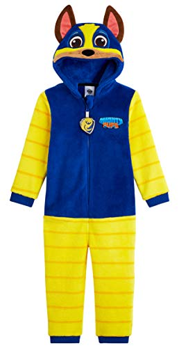 PAW PATROL Kuschelanzug Kinder, Chase Jumpsuit Kinder Jungen, Fleece Overall Jumpsuit, Baby Overall, Hausanzug Jumpsuit Kuschelig (Blau, 3-4 Jahre)