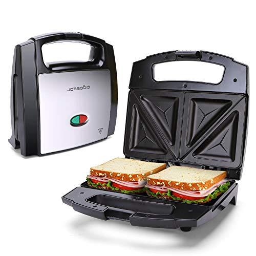 Sandwichmaker Dreieckig Antihaftbeschichtung Trockengehschutz BPA Frei 800W doppelseitig Backen Sandwich Toaster Maker Kabelaufwicklung Schwarz Silber