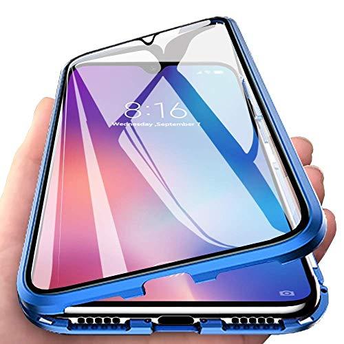 Orgstyle Hülle für Samsung Galaxy A71, Magnetische Hartglas Hülle mit Vorderseite und Rückseite, Metallrahmen Case mit Eingebaut Magnet, Ultra Dünn 360 Grad Handyhülle for Samsung Galaxy A71, Blau