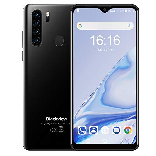 Blackview A80 Pro (2020) Smartphone ohne Vertrag, 4G LTE 6,49 Zoll Smartphone, 4GB RAM+64GB ROM, 4680mAh Akku, 13MP+8MP Kamera, Dual SIM Handy Android 9.0, WLAN 5G, Fingerabdruck, Face ID (Schwarz)