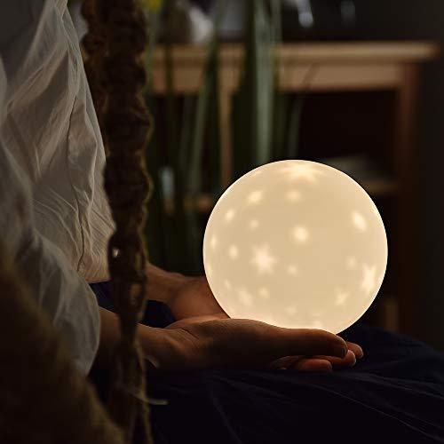 SALCAR Nachtlicht Sternenhimmel für Kinder, 6 Beleuchtungsmodi und 3 dimmbaren Helligkeitsstufen, Wiederaufladbare Silikon Projektor Schlummerlampe, Batteriebetriebene LED Nachttischlampe
