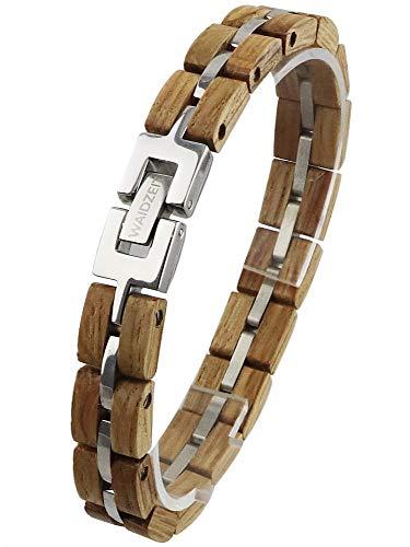 Waidzeit EL_Y02 Damen Armband Whisky Holz Silber braun 20,5 cm