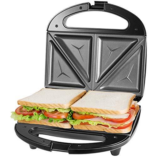 ostba Sandwichmaker, Sandwichtoaster, Waffeleisen, Antihaftbeschichtete abnehmbare Platten, Cool Touch Griffe, BPA frei, schwarz