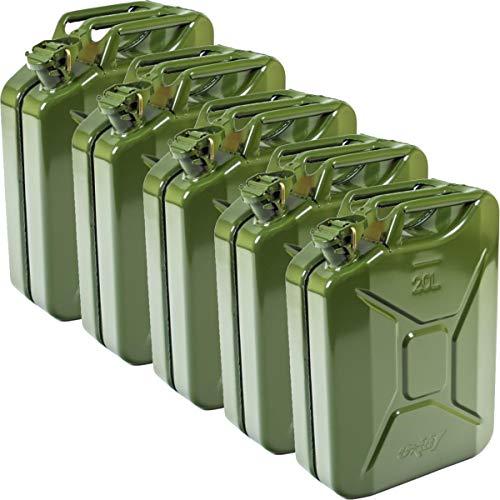 5X Oxid7 Benzinkanister Kraftstoffkanister Metall 20 Liter - mit UN-Zulassung - Bauart geprüft - Einbrennlackiert - Jerry Can mit Bajonettverschluss - Olivgrün