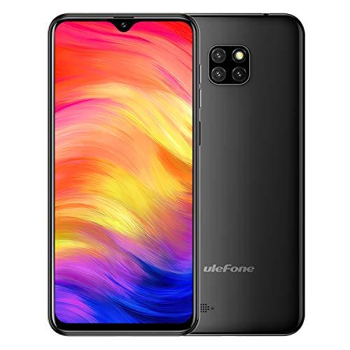 Ulefone Note 7 Smartphone ohne Vertrag, Android 9.0 Günstig Handy mirt 3 Kameras, 6,1 Zoll, Micro SIM+Nano SIM+TF Karte, Face ID - Schwarz