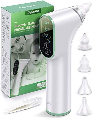 Nasensauger Baby Elektrisch, DynaBliss Nasensaug Baby Staubsaug USB Aufladen Medizinisches Silikon mit 3 Saugstärken und 4 Größen Silikon Tipps Tragbar Nasensauger