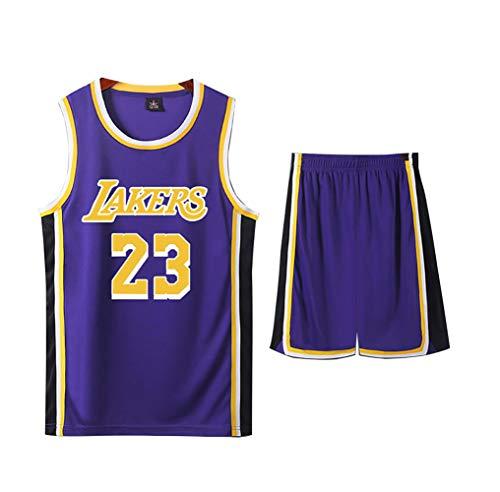 LJWLCH Basketball Trikot Lebron Raymone James # 23 Kinder Sport ärmelloser Anzug, Jungen und Mädchen Sportswear Schule Sommerweste + Shorts Jugend lila Sweatshirt Unisex-3XL