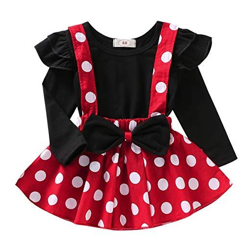 Baby Kinder Mädchen Bekleidungssets Langarm T-Shirt Tops + Polka Dot Strapsrock + Bowknot Stirnband Minnie Kleid Cosplay Weihnachten Karneval Kostüm Party Outfits Schwarz #02 3-4 Jahre