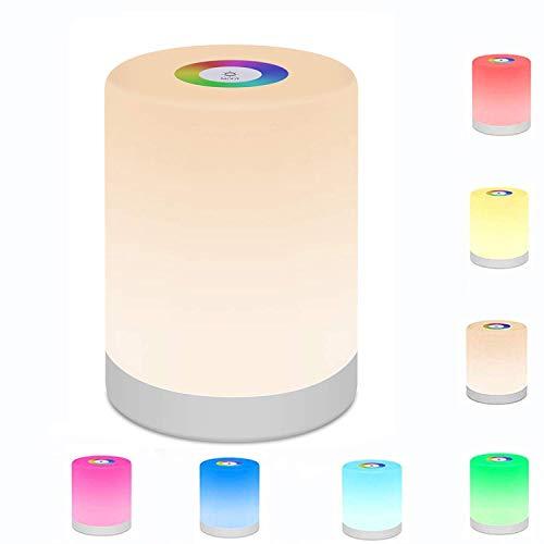 LED Nachttischlampe Dimmbar Atmosphäre Tischlampe mit RGB Farbwechsel Touch Nachtlicht Stimmungslicht Schreibtischlampe für Schlafzimmer Wohnzimmer und Büro