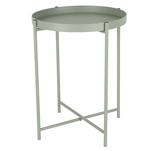 Tabletttisch rund Ø38cm H50cm Metallgestell 'Desert Sage' Grau/Mintgrün - Serviertisch Beistelltisch Couchtisch Wohnzimmertisch Kaffeetisch
