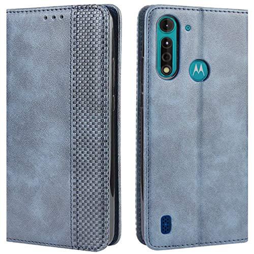 HualuBro Handyhülle für Motorola Moto G8 Power Lite Hülle, Retro Leder Stoßfest Klapphülle Schutzhülle Handytasche LederHülle Flip Case Cover für Motorola Moto G8 Power Lite Tasche, Blau