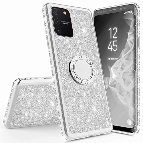 Miagon Hülle Glitzer für Samsung Galaxy S10 Lite,Glänzend Mädchen Frauen Weich Silikon Handyhülle mit Strass Diamant 360 Grad Ständer Schutzhülle Etui Cover