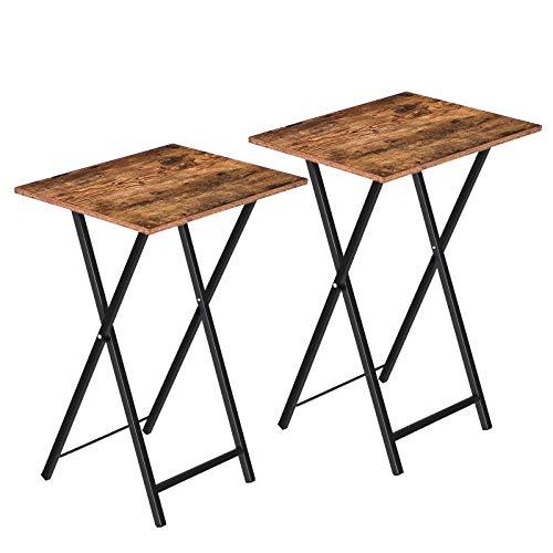 HOOBRO Beistelltisch Klappbar, Kleiner tabletttisch, TV Tray 2er Set, klapptisch Snack Tisch Industriestil, Sofatisch für kleinen Raum, einfach montierbar, Dunkelbraun-Schwarz EBF25BZ01
