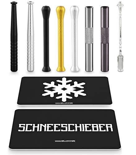 BALLER.STORE 7X Ziehröhrchen inkl. SCHNEESCHIEBER & Schneeflocken-Karte   Schnupfrohr   Schnupftabak   Dosierer  