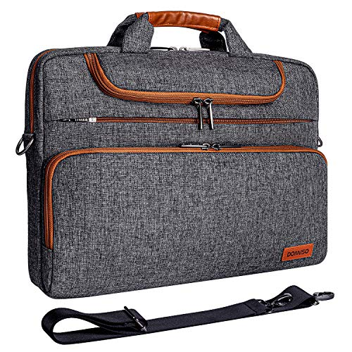 "DOMISO 15-15,6 Zoll Wasserdicht Laptop Tasche Aktentasche Schultertasche Notebooktasche für 15.6"" Lenovo IdeaPad ThinkPad/HP Pavilion 15 Envy 15 / Dell XPS 15 / Apple/Asus, Dunkelgrau"