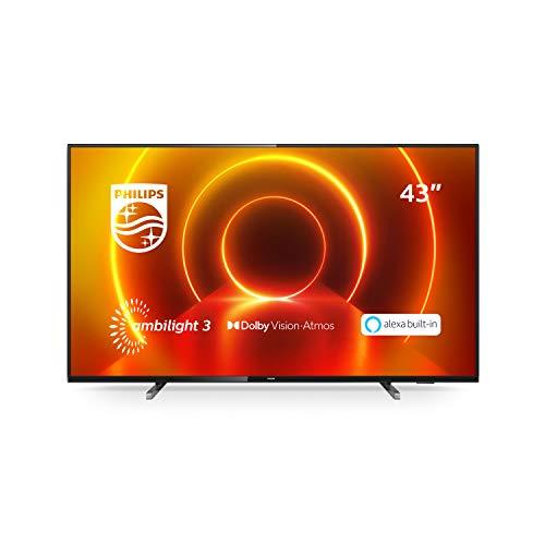 Philips Ambilight 43PUS7805/12 Fernseher 108 cm (43 Zoll) LED TV (4K UHD, P5 Engine, Dolby Vision, Dolby Atmos, HDR 10+, Alexa Sprachsteuerung, Saphi Smart TV, HDMI) Grau/Silber [Modelljahr 2020]