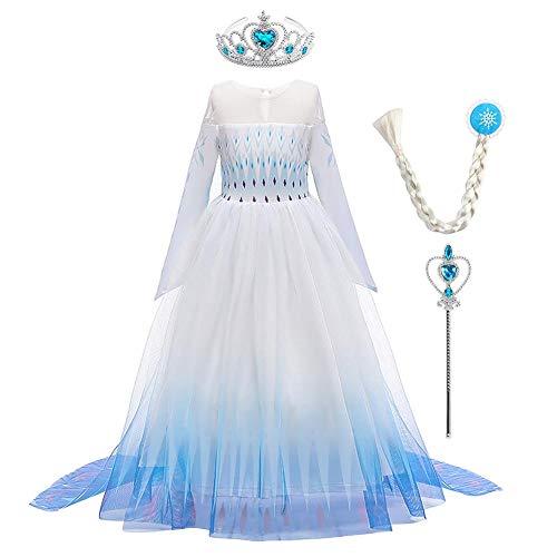 OBEEII Mädchen ELSA Kleid Schneekönigin Prinzessin Karneval Kostüm Schneeflocke Tüll Kleid Weihnachten Verkleidung Geburtstag Partykleid 5-6 Jahre