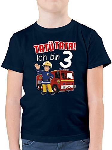 Feuerwehrmann Sam Jungen - Tatü Tata! Ich Bin 3 - rot - 104 (3/4 Jahre) - Dunkelblau - feuermann sam Kleidung - F130K - Kinder Tshirts und T-Shirt für Jungen
