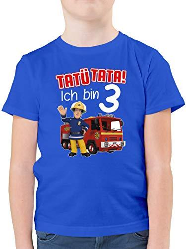 Feuerwehrmann Sam Jungen - Tatü Tata! Ich Bin 3 - rot - 104 (3/4 Jahre) - Royalblau - Statement - F130K - Kinder Tshirts und T-Shirt für Jungen