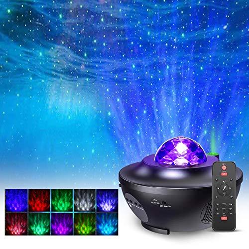LED Projektor Sternenhimmel Lampe, FOCHEA Sternenhimmel Projektor Nachtlicht mit Starry Stern/Wasserwellen-Welleneffekt mit 21 Beleuchtungsmodi und Musiklautsprecher Perfekt für Baby Kinder Party