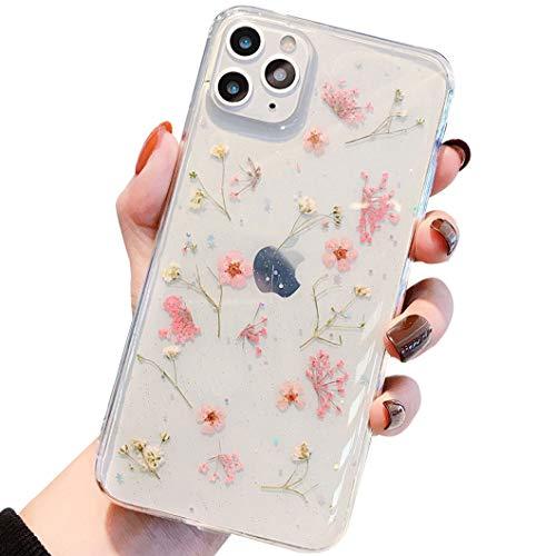 iPhone SE 2020 Hülle iPhone 8 HandyHülle Blume iPhone 7 Handyhüllen Kristall Echt Getrocknete Blumen Schutzhülle Silikon Rückschale Handgefertigten Bumper Case Cover für iPhone 7/8/SE 2020 4,7\'\', D1
