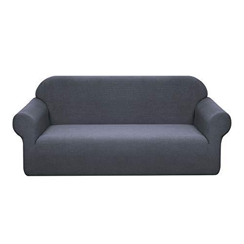 Granbest Stretch Wasserdicht Sofabezug 1 Stück Sofahusse Spandex Jacquard Elastische Couchbezug mit Anti-Rutsch-Schaumstoffe (3 Sitzer, Grau)