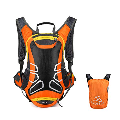 KOKOSUN Fahrradrucksack 15L Fahrrad Rucksäcke mit Regenschutz und Helmabdeckung Wasserdichter Ultralight für Outdoor MTB Radsport Wandern Bergsteigen Hydration (Orange)