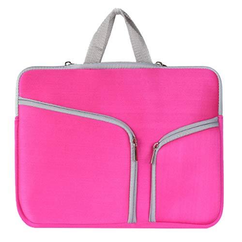Laptop Tasche 11/13/14/15/17 Zoll Handtasche Notebooktasche Aktentasche Tablet Tasche Schulter Bag Wasserabweisend Satchel Bussiness Aktentasche Multifunktions Laptoptasche (Pink, L)