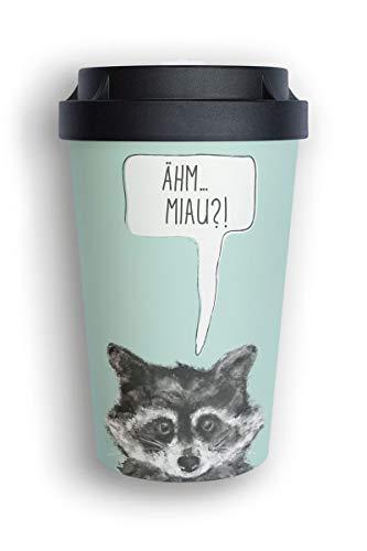 heybico Coffee to go Becher aus Pflanzen hergestellt im Schwarzwald   umweltfreundlich & klimaschonend (Sneaky Raccoon)