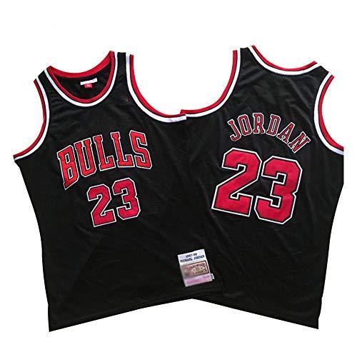 Michael Jordan Chicago Bulls Basketball Trikot Herren # 23 Classic Bestickt Retro Jersey Jugend Fan Edition Weste Outdoor Schnell Trocknend Atmungsaktiv Sweatshirt (S-2XL)-Schwarz A-M