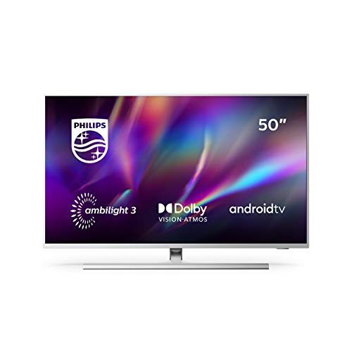 Philips Ambilight 50PUS8505/12 50-Zoll LED TV (4K UHD, P5 Perfect Picture Engine, Dolby Vision, Dolby Atmos, HDR 10+, Sprachassistent, Android TV) Hellsilber [Modelljahr 2020]