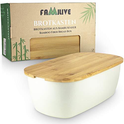 Brotbox Bambus - 2 in 1 Brotkasten Weiß mit Schneidebrett - sehr praktische Brot Aufbewahrungsbox Holz - Brotkorb Bambus Modern und ein schönes Design - Brotkasten Bambus als Geschenkidee Brot Box