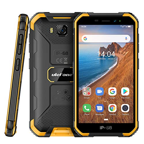 Outdoor Handy ohne Vertrag Günstig Ulefone Armor X6 (2020) Robustes Wasserdicht Smartphone Android 9.0, 5.0 Zoll, 16GB ROM, 4000mAh, Quad-core IP68/IP69K, Stoßfest Staubdicht Face ID GPS - Orange