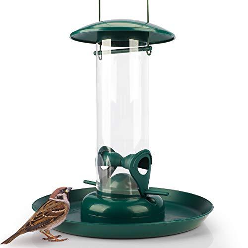 WILDLIFE FRIEND | Körner Futtersäule mit XL Futterteller grün - Futterschale für Vögel zum Aufhängen mit Anflugplätzen, Futterstation zur ganzjährigen Wildvögel Fütterung