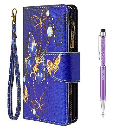Grandoin für Samsung Galaxy S10E Hülle, Handyhülle im Brieftasche-Stil, Handytasche PU Leder Reißverschluss Klappbarer Flip Cover Bunte Muster Case Schutzhülle (Lila Schmetterling)